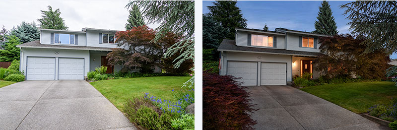 before and after exterior home photos, twilight